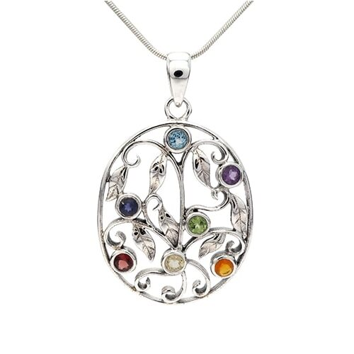 Intricate silver pendant with mixed cut stones